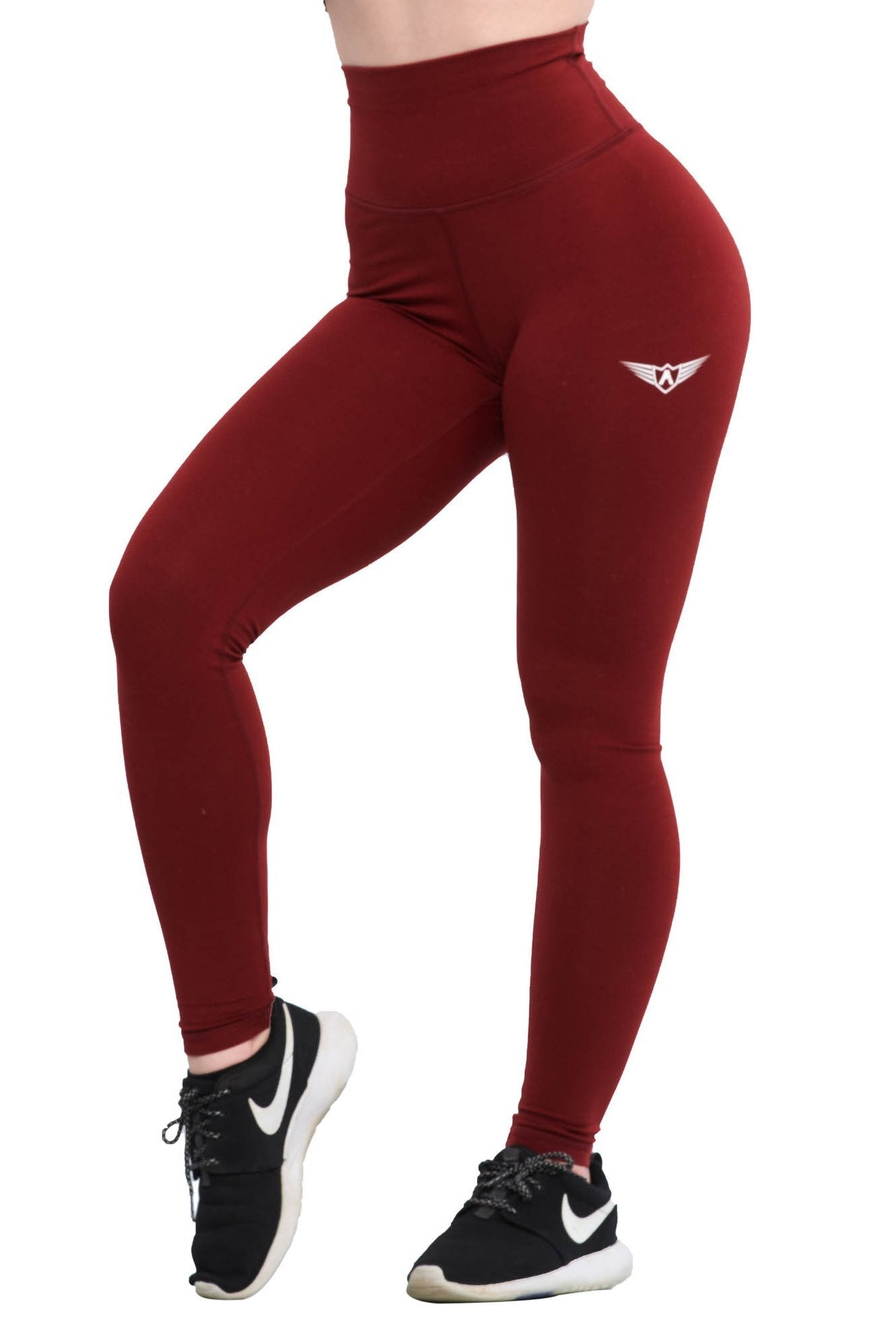 MAROON FEATHER HIGH WAIST COMPRESSION LEGGINGS - womens activewear leggings