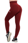 MAROON FEATHER HIGH WAIST COMPRESSION LEGGINGS - womens sportswear