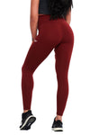 MAROON FEATHER HIGH WAIST COMPRESSION LEGGINGS - womens workout clothes