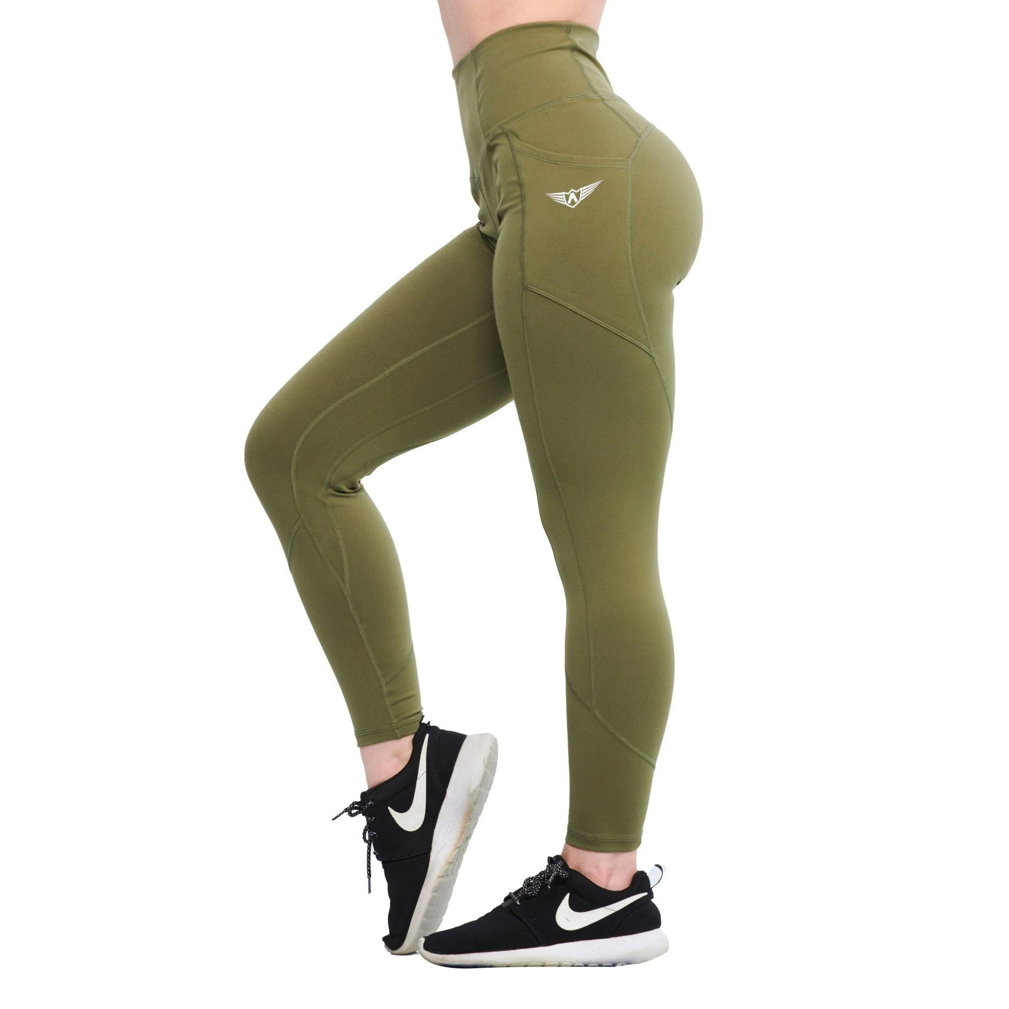 Olive Green SUPER FLEX HIGH WAIST LEGGINGS With Pockets
