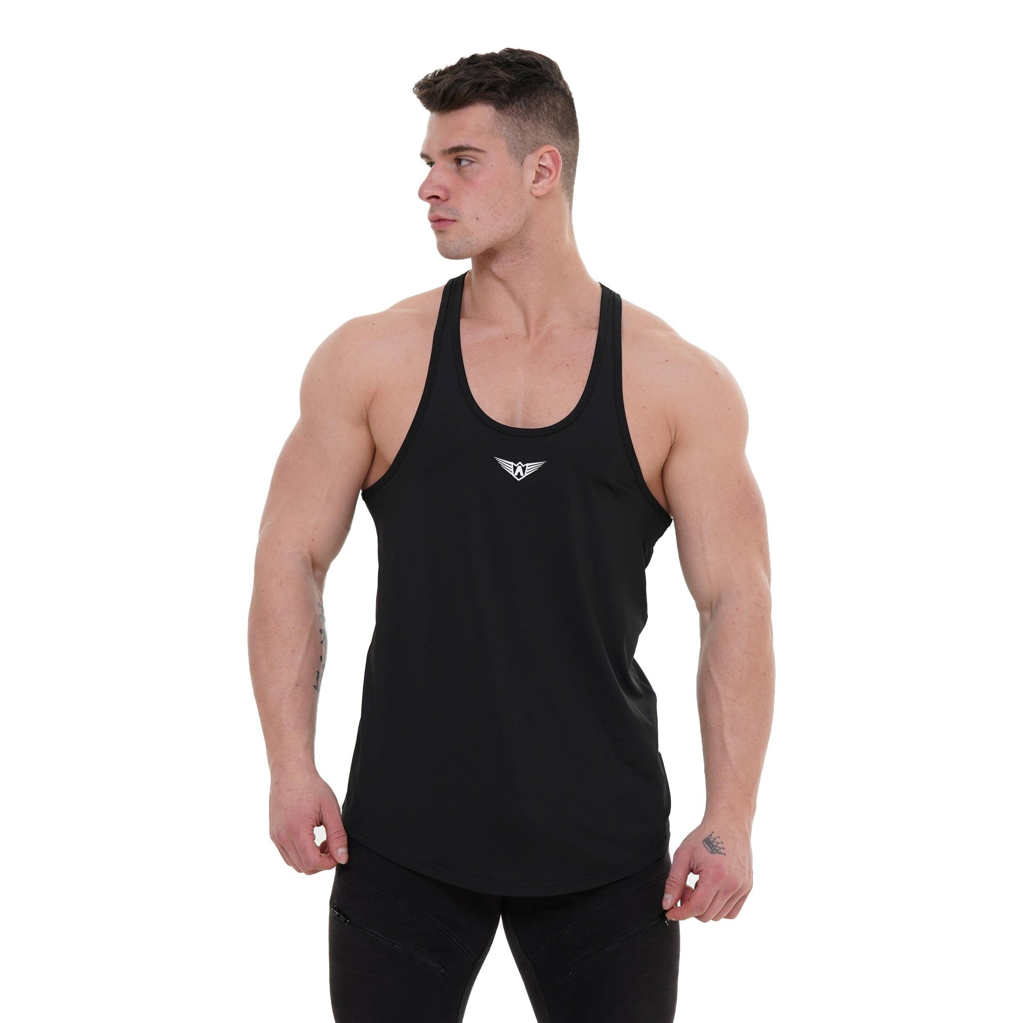 MEN BLACK STRINGER SINGLET TANK TOP