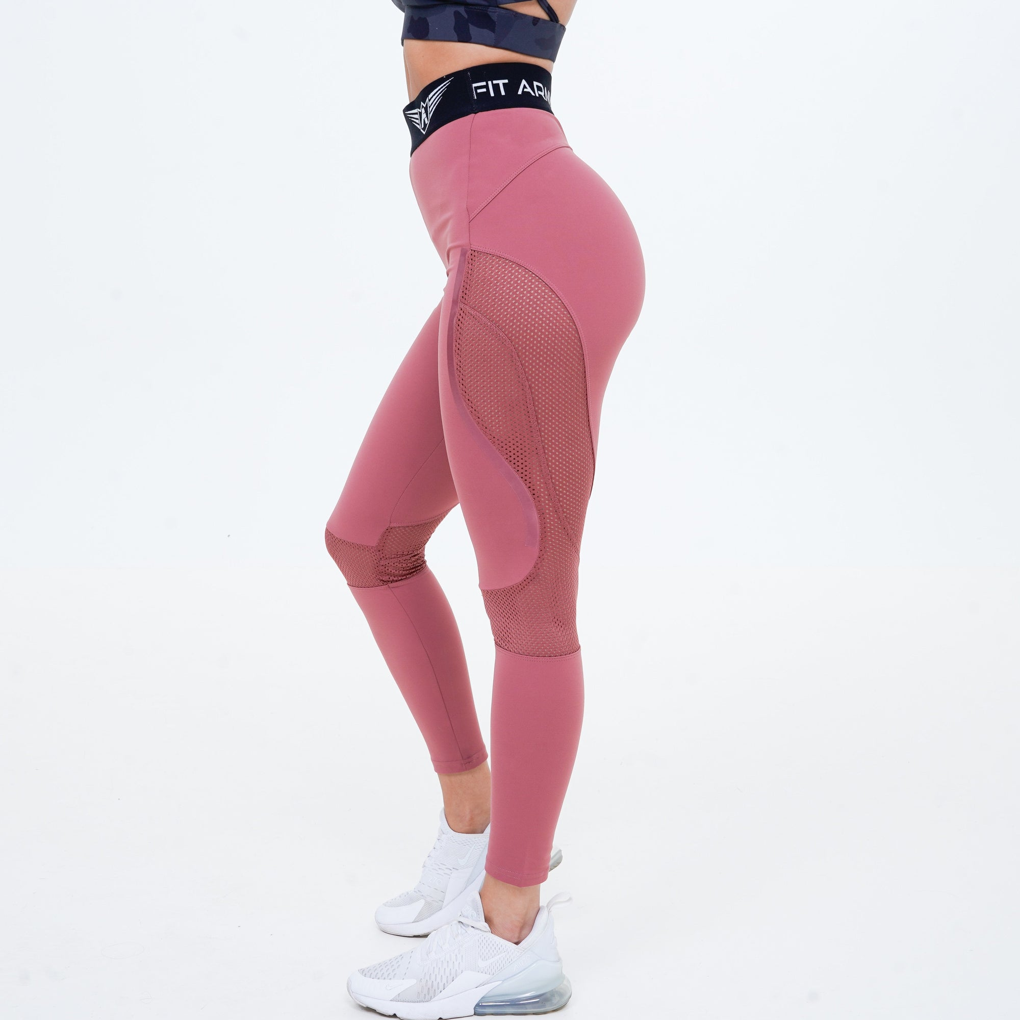 AURORA PINK PEACH MESH HIGH WAIST LEGGINGS
