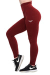 MAROON FEATHER HIGH WAIST COMPRESSION LEGGINGS - womens active leggings