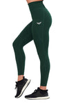 FOREST GREEN COMPRESSION LEGGINGS WITH POCKETS - womens workout gear