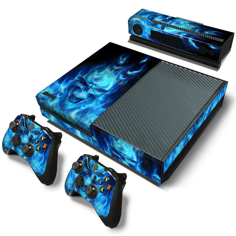 Xbox One Blue Skull Flame Decal Stickers,  - Merch-Vault.com