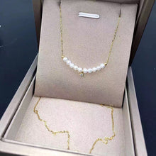 Natural pearls necklace in 18k Au750 gold inlay high luster stone pendant fashion smiling face design for women girls Mom