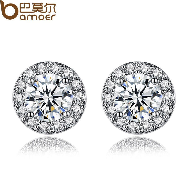 BAMOER Simple Silver Color Round Shape Stud Earrings with AAA Zircon for Women Anniversary Fashion Jewelry YIE092