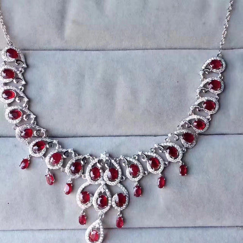 Extravagant water droplets Natural red ruby gem Necklace Natural gemstone Pendant Necklace 925 sliver women Girl wedding Jewelry