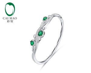 1.78ctw Oval Natural Emerald Pave Diamond 18K/Au750 White Gold Gem Bracelet Caimao Jewelry