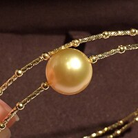 Sinya Natural Golden pearls 18k AU750 gold tube Bangles bracelet for women girl Mom lover pearl diameter 10-11cm
