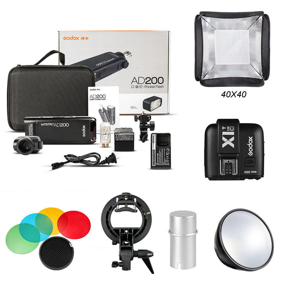 Godox 2.4 TTL HSS AD200 Camera Flash Light+X1T-C Transmitter+AD-S2+Softbox Kit