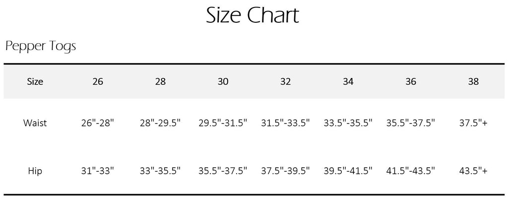 Size Chart Men's Swimsuits PepperTogs