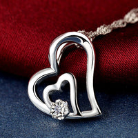 Double r 001ct real diamond pendants women 925 sterling silver double r 001ct real diamond pendants women 925 sterling silver heart necklace natural white mozeypictures Gallery