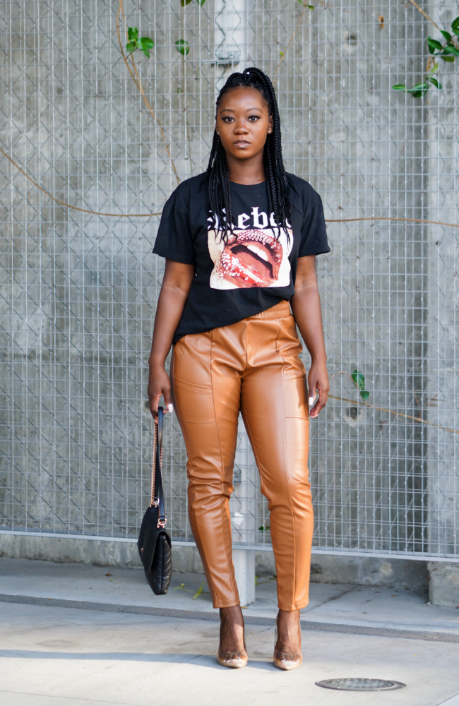 Autumn Faux Leather Joggers - High Honors