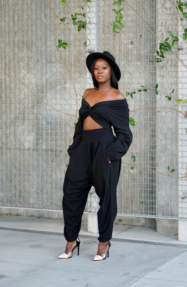 All eyes on me' Black Harem Pant Set