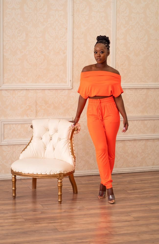 orange two piece jogger pants set