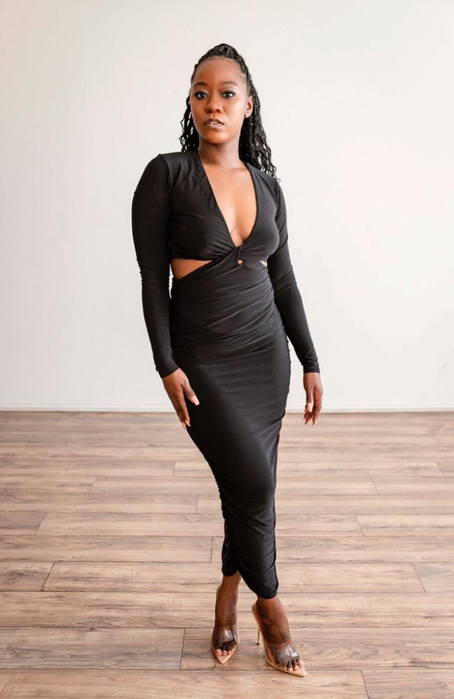Apply Pressure - Black Midi Dress