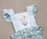 Hand Embroidered Daisy Sunsuit with High Waisted Bloomers