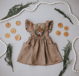 Holiday Gingerbread Hand Embroidered 3 Piece Pinafore