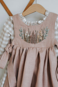 PREORDER - Linen Hand Embroidered Spring Pinafore