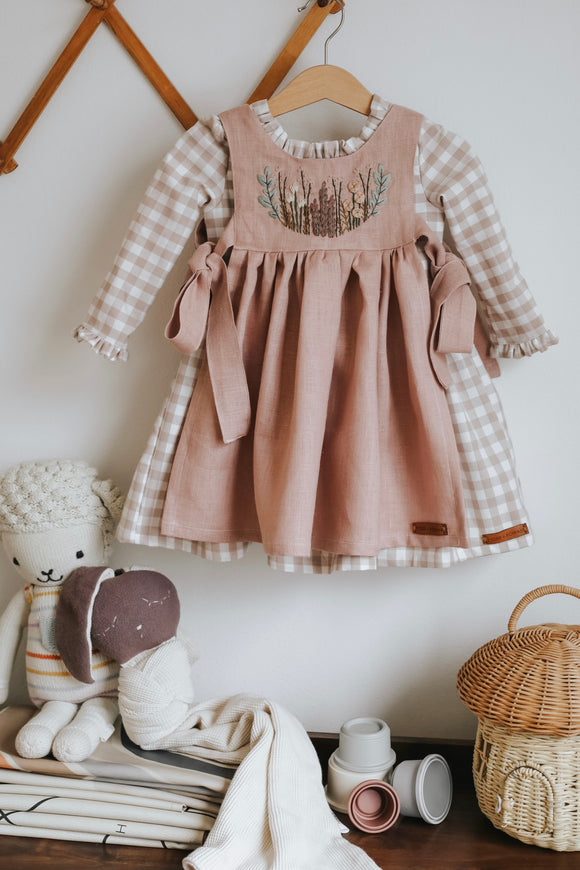 PREORDER - Gingham and Linen Hand Embroidered Spring Pinafore and Dress