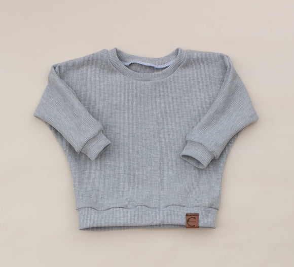 Light Gray Organic Waffle Knit Sweater