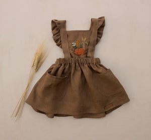 Fall Pumpkin Hand Embroidered 3 Piece Pinafore - Brown