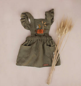 Fall Pumpkin Hand Embroidered 3 Piece Pinafore - Olive Green