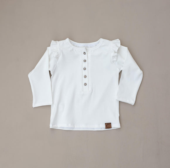 Organic Ruffle Long Sleeve Henley - Off White