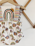 Hand Embroidered Sunshine & Rainbow 3-Piece Sunsuit - High Waisted Bloomers