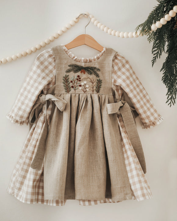 Gingham and Linen Hand Embroidered Holiday Pinafore and Dress