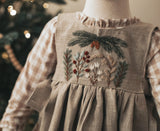Linen Hand Embroidered Holiday Pinafore