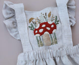 Woodland Mushroom Hand Embroidered 3 Piece Pinafore or Sunsuit