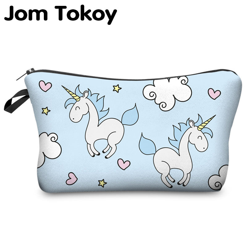 ef0e9167b1f4 Jom Tokoy 3D Printing Unicorn Cosmetic Bag Multicolor Pattern Cute  Cosmetics Pouchs For Travel Ladies Pouch Women Makeup Bags
