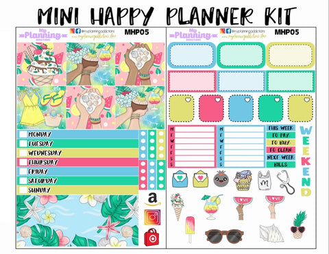 MHP05: SUMMER/MINI HAPPY PLANNER/PLANNER STICKERS