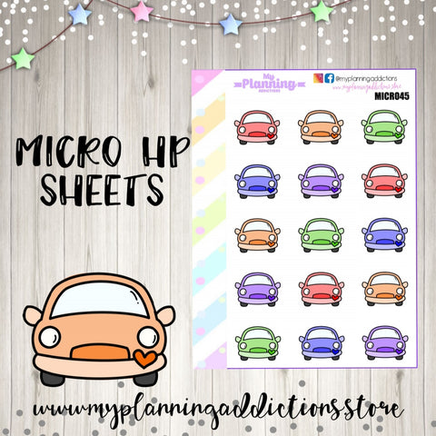 MICROHP45: CARS (BRIGHT)/ICONS/PLANNER STICKERS