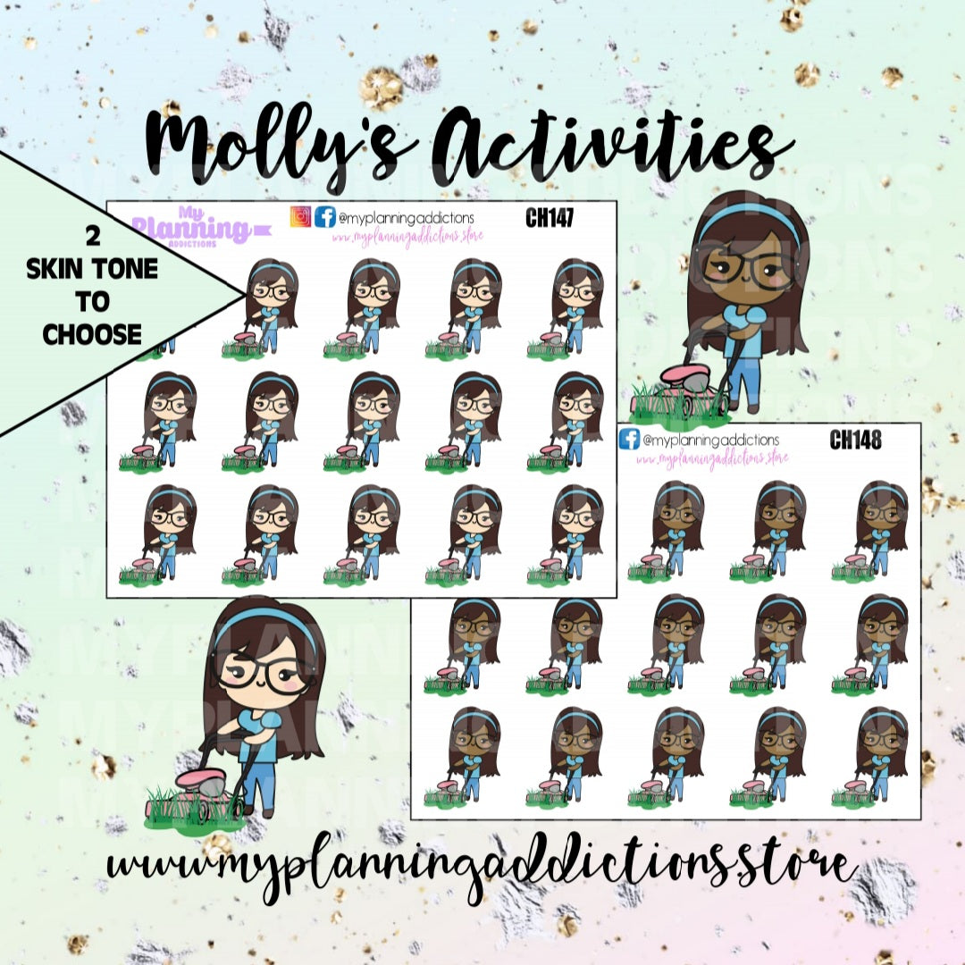 CH147-148: MOLLY MOWNING THE LAWN/CHIBI/PLANNER STICKERS