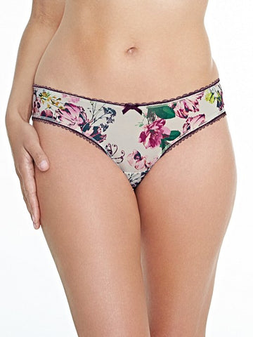 Royce Lingerie Florence Brazilian Panty Cream and Aubergine
