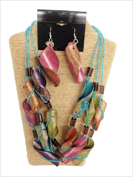 3 Strands Seed Beads with Curly Wood Necklace Set Multi Color by IVETH