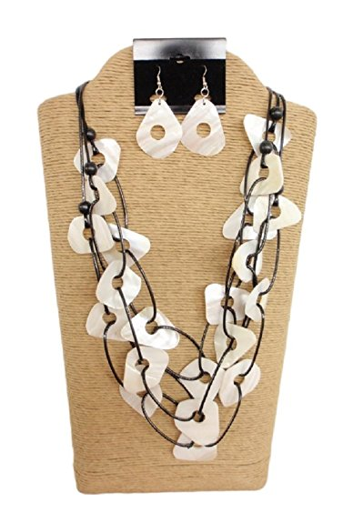 3 Strands Wax Cord with Multicolor Kabibi Shells and Natural Wood Beads Set by IVETH