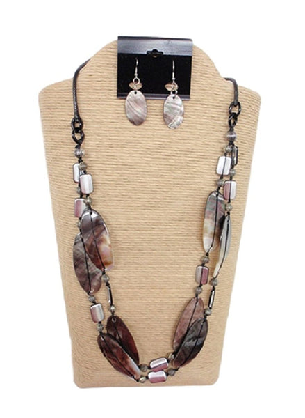 2 Strand Necklace with Wax Cord and Lip Shells Set by IVETH