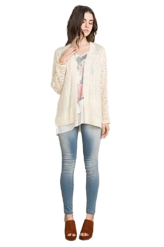 Dolman Sleeve Pointelle Cardigan