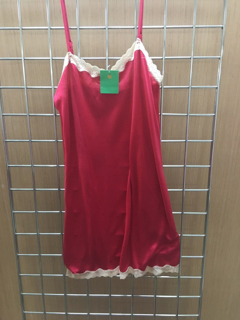 Mary Green Stretch Silk Doll Chemise with Lace LL9 Red and Cream Medium