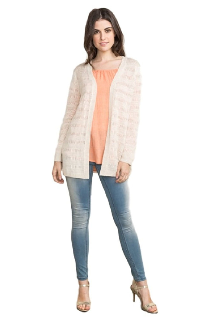 Space Stripe Sweater Cardigan in Light Beige by IVETH