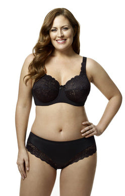 Elila Full Coverage Stretch Lace Underwire Bra Ivory and Black 2311