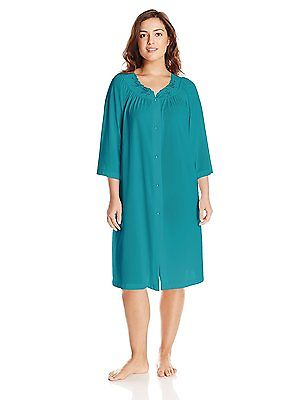 Shadowline Rose Embroidered Button Up Yoke Coat 77280 Teal 1X-Large