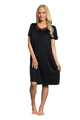 Shadowline Rose Embroidered Short Sleve Gown 36280 Black Large