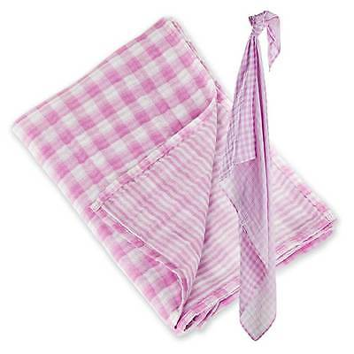 Lulujo Baby Cotton Reversible Muslin Swaddling Blanket Passion Pink Last One!