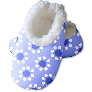 Snoozies Baby's Fleece Lined Footies, Blue with Flowers Small, 0-3m