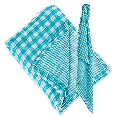 Lulujo Baby Cotton Reversible Muslin Swaddling Blanket Aqua Fun